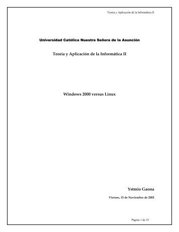 Teoría y Aplicación de la Informática II Windows ... - JEUAZARRU.com