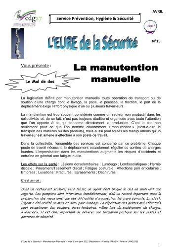 N°15 - La Manutention manuelle - MAJ janv 2012 - CDG27