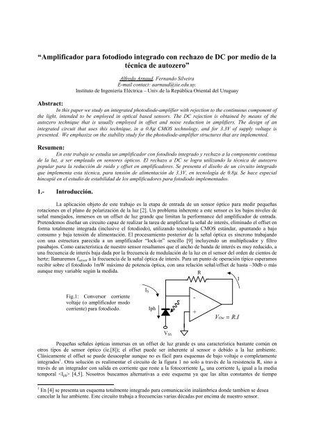 Amplificador para fotodiodo integrado con rechazo de DC por medio ...