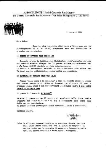 28 ottobre 2001 - amici oratorio San Mauro onlus