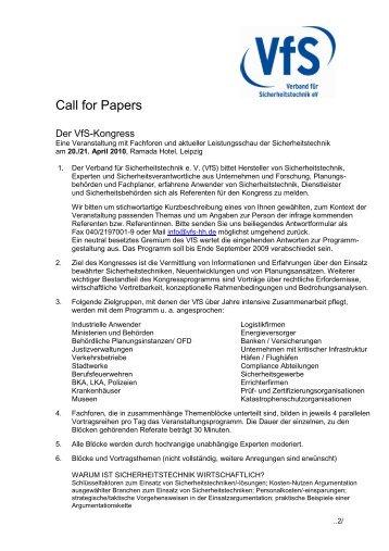 Call for Papers - Verband für Sicherheitstechnik – VfS