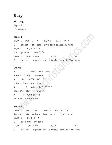Chords and lyrics to stay
