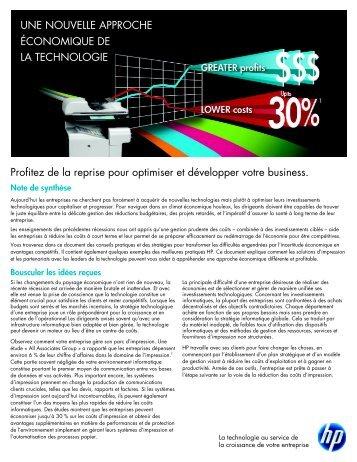 Livre Blanc Optimisation des coûts - Hewlett-Packard France - HP