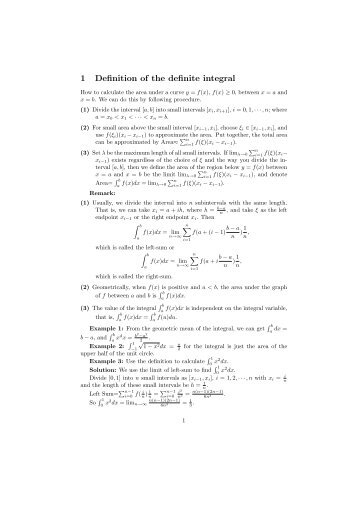 1 Definition of the definite integral