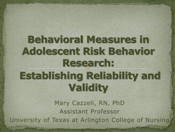Behavioral Measures in Adolescent Risk Behavior Research ... - IUPUI