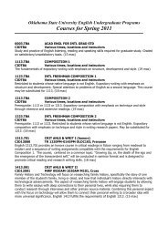 Courses for Spring 2011 - English Department - Oklahoma State ...