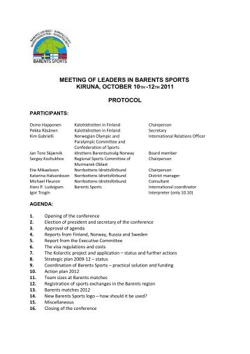 meeting of leaders in barents sports kiruna, october 10th -12th 2011 ...