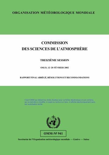Commisssion des sciences de l'atmosphère - E-Library - WMO