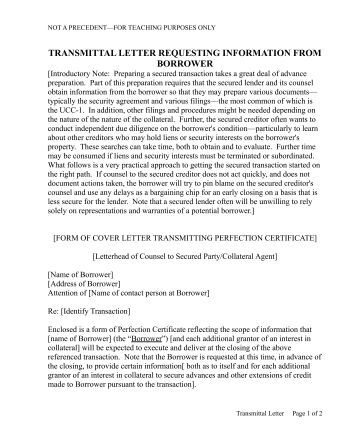 transmittal letter requesting information from borrower uccstuff