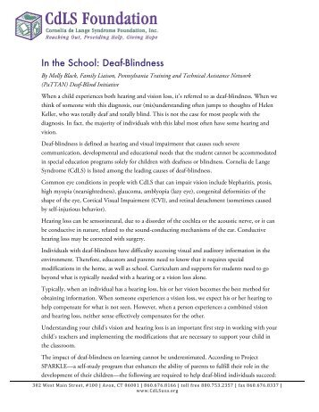 In the School: Deaf-Blindness - CdLS