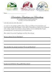 Download des Fragebogens! - Hotel und Restaurant Jagdhaus Rech