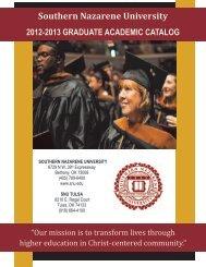 2012-2013 SNU Graduate Academic Catalog - Southern Nazarene ...