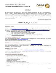 Pre-Arrival Information Fall 2013 - Purdue University Calumet