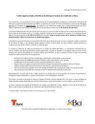 Estructura Comisiones de Tarjetas de Crédito Bci y TBanc a partir ...