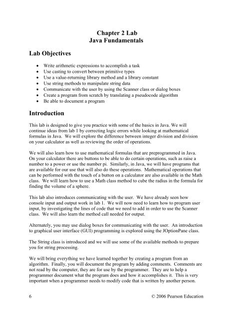 Chapter 2 Lab Java Fundamentals Lab Objectives Introduction