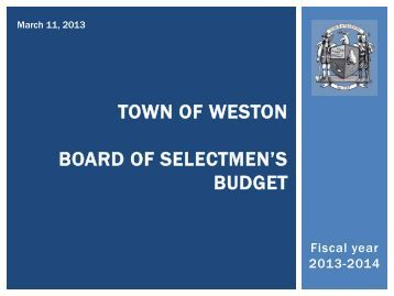 town of weston first selectman's - Town of Weston, CT Home Page