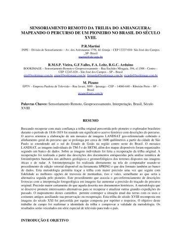 sensoriamento remoto da trilha do anhanguera - INPE-DGI