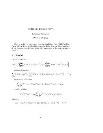 Notes on Kehoe Perri