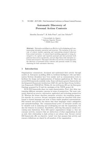 Automatic discovery of personal action contexts - CiteSeerX