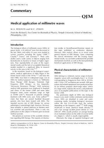 Medical application of millimetre waves - Milmed
