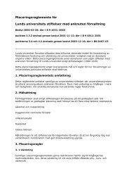 Placeringsreglemente för Lunds universitets stiftelser med anknuten ...