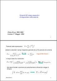 Fisica II a.a. 2003-2004 Lezione 27 Maggio 2004 Sorgenti del ...