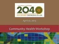 Community Health Workshop - City of HAYWARD