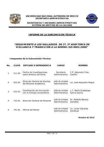 Informe de atención de hallazgos 2010 - Dirección General de ...