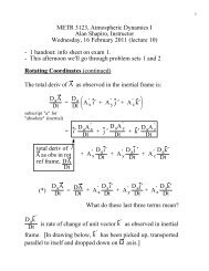 METR 3123, Atmospheric Dynamics I Alan Shapiro, Instructor ...