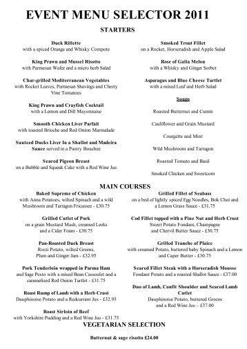 EVENT DINNER MENU SELECTOR 2011 - Wroxton House Hotel