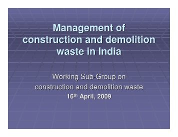 Management of construction and demolition waste in India - Delhi