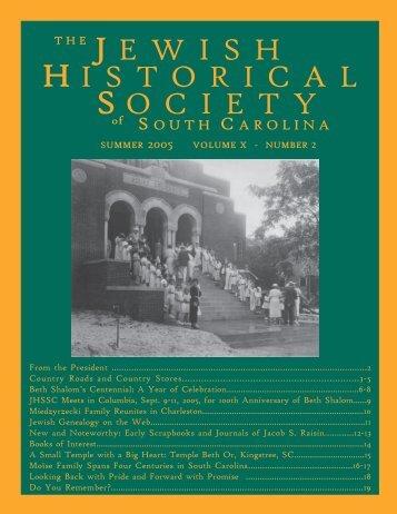 Summer 2005 volume x - Jewish Historical Society of South Carolina