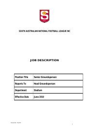 JOB DESCRIPTION Position Title Senior Groundsperson ... - sanfl