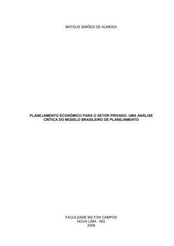 Planejamento econômico para o setor privado - Milton Campos