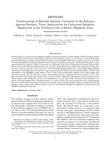 Geochronology of Bimodal Alkaline Volcanism in the Balcones