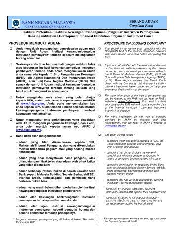 borang aduan BNM - Banking Info