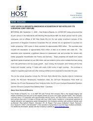 News Release - Host Hotels & Resorts, Inc