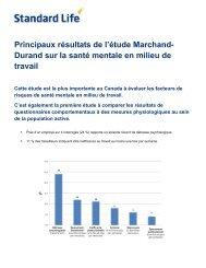 Principaux résultats de l'étude Marchand