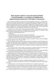 Rola organów państwa w procesie integracji Polski z Unią Europejską