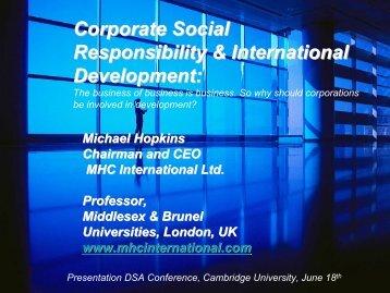Corporate Social Responsibility & International Development: