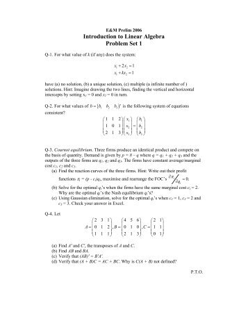 Introduction to Linear Algebra Problem Set 1 ( )