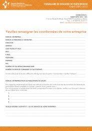 Le formulaire de participation - UCLG