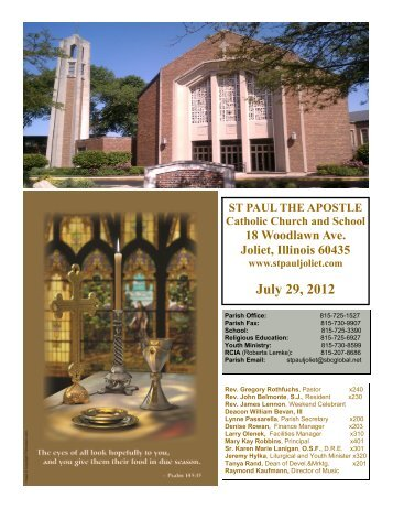 July 29, 2012 - St. Paul the Apostle Church - Diocese of Joliet
