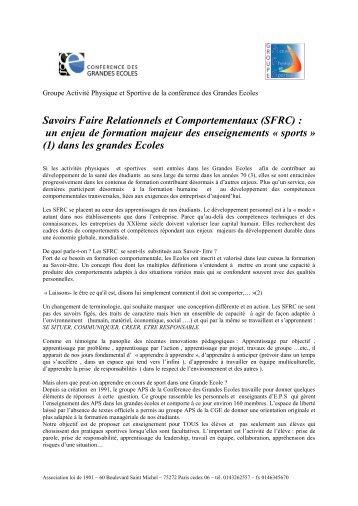 Savoirs Faire Relationnels et Comportementaux (SFRC) : un enjeu ...