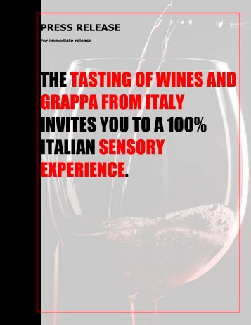 the tasting of wines and grappafrom italy invites you to a 100 ...