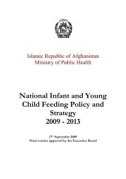 Afghanistan: National Infant and Young Child Feeding Policy - basics