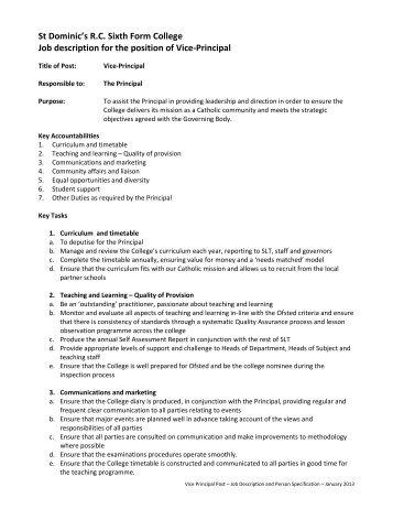 St Dominic's R.C. Sixth Form College Job description for the position ...