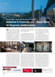 Ambiente & Panorama pur – Neuer Glanz im Berghotel Johanneshöhe