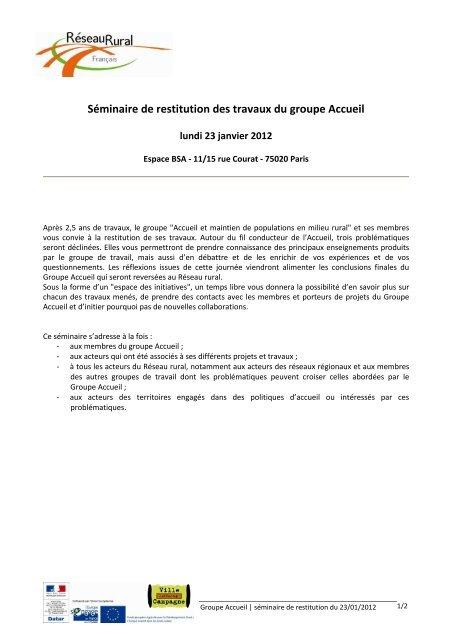 le programme du séminaire - Réseau Rural Français