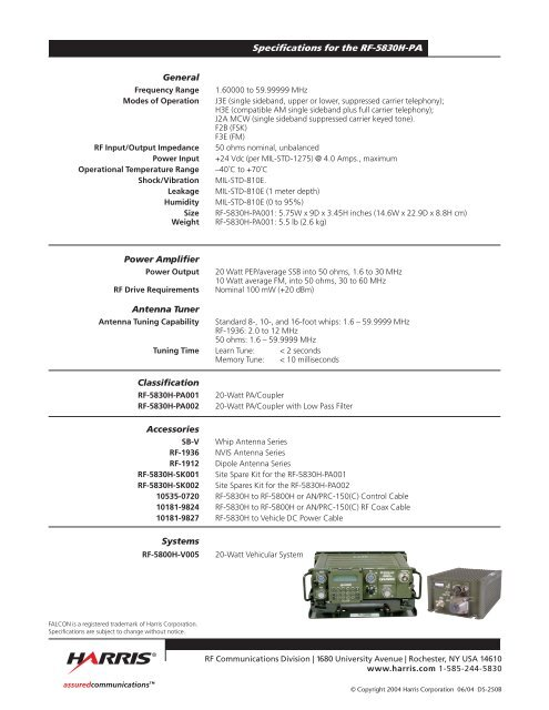 Specifications for the